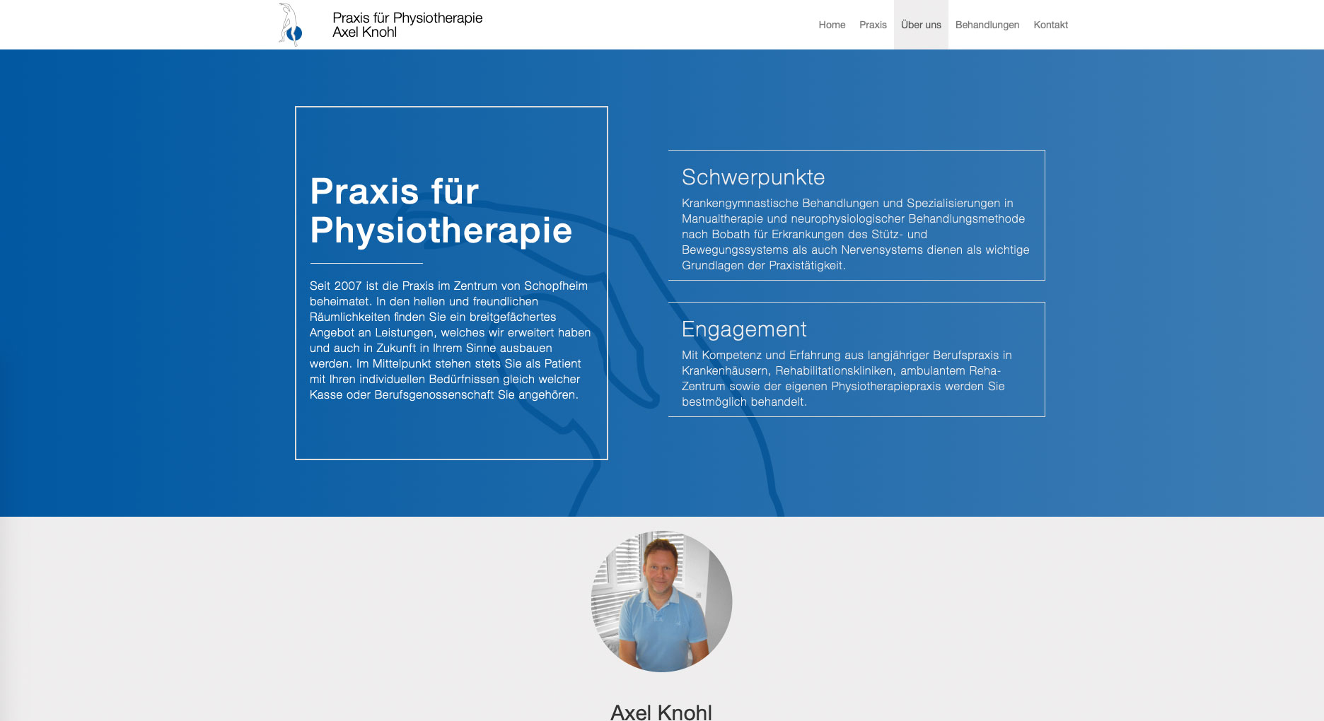 Physiotherapie Axel Knohl Website
